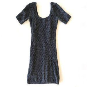 FP Shirt Sleeve Gray Knit Sweater Dress